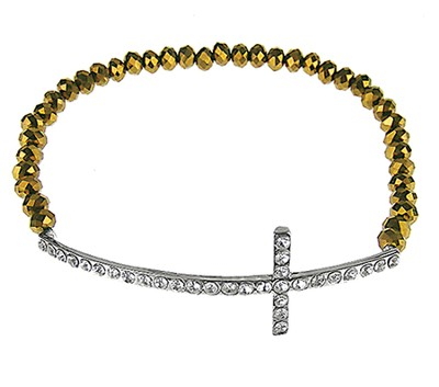 Crystal Side-Cross Bracelet, Bronze  -