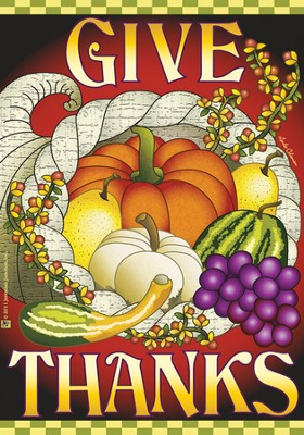 Give Thanks Cornucopia Flag, Large  -     By: FLAG