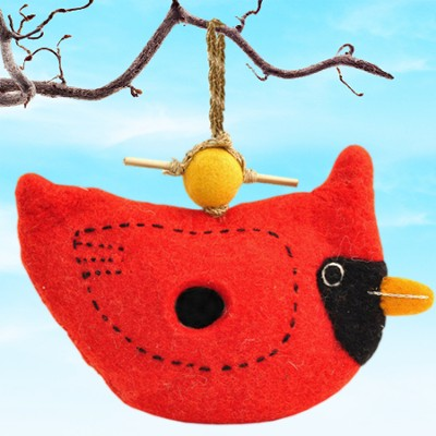 Felt Birdhouse Cardinal, Fair Trade Product  -