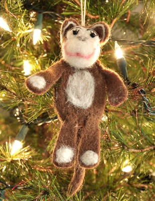 Felt Ornament Finger Puppet, Monkey, Fair Trade Product  -