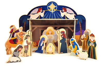 Wooden Nativity Set, with Scripture   -