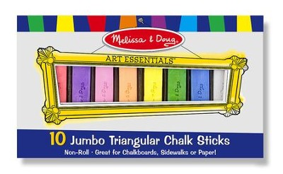 Jumbo Triangular Chalk Sticks, 10 pieces  -