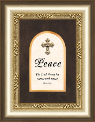 Peace Framed Art with Cross, Psalm 29:11  -