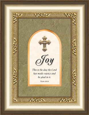 Joy Framed Art with Cross, Psalm 118:24  -