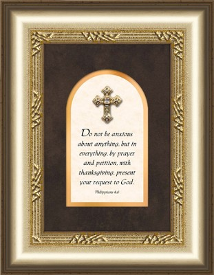 Jewel Cross Framed Art, Philippians 4:6  -