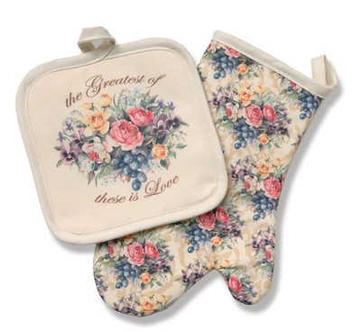 Love Among The Roses, Potholder & Oven Mitt Set  -     By: Sandy Clough