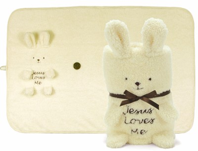 Jesus Loves Me Bunny Blanket  -