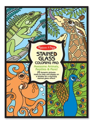Animals, Stained Glass Coloring Pad  -