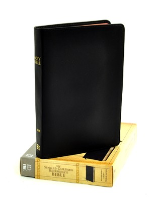 NIV Single-Column Reference Bible, Premium Leather, Ebony - Imperfectly Imprinted Bibles  -