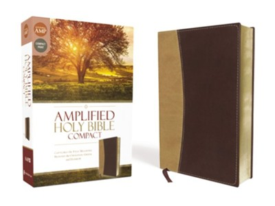 Amplified Compact Holy Bible--soft leather-look, camel/burgundy -