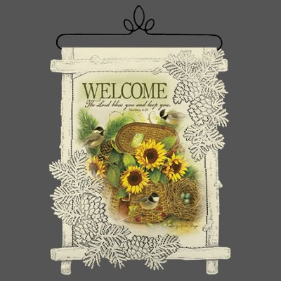 Welcome, The Lord Bless You, Lace Wall Hanging  -     By: Sandy Clough