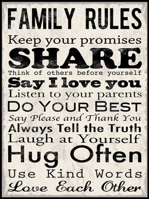 Family Rules, Keep Your Promises, Art Mounted Print  -     By: Louise Carey