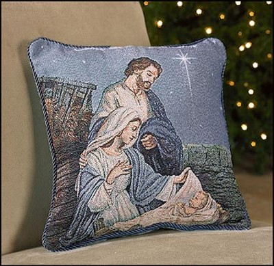 Nativity, Let Us Adore Him, Pillow  -