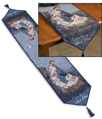Nativity, Let Us Adore Him, Table Runner  -