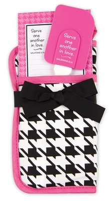 Serve One Another In Love Potholder Gift Set, Black and White Houndstooth  -