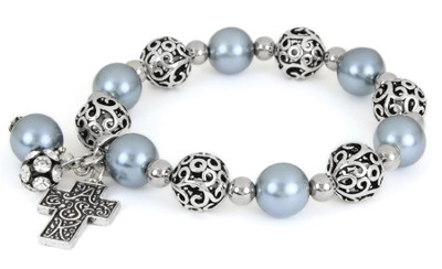 Cross ASK Filigree Stretch Bracelet, Gray  -