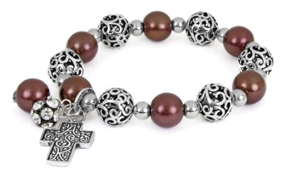 Cross ASK Filigree Stretch Bracelet, Brown  -