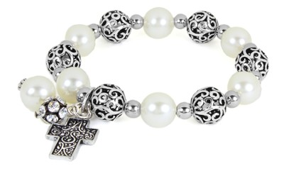Cross ASK Filigree Stretch Bracelet, White  -