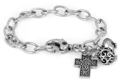 Cross ASK Chain Bracelet, Silver  -