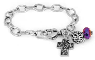 Cross ASK Chain Bracelet, Rainbow  -