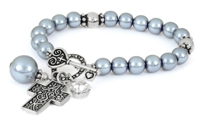 Cross ASK Toggle Stretch Bracelet, Gray  -