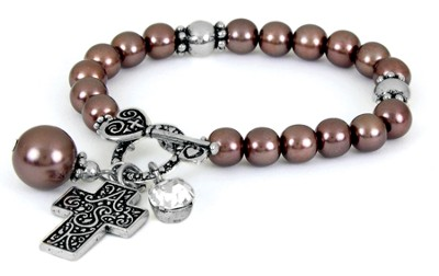 Cross ASK Toggle Stretch Bracelet, Brown  -