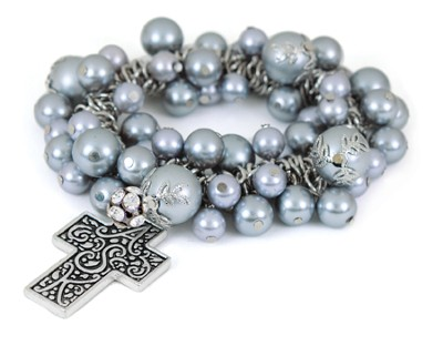 Cross ASK Stretch Bracelet, Gray  -