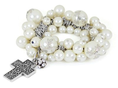 Cross ASK Stretch bracelet, White  -