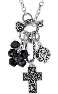 Cross ASK Cluster Necklace, Black  -
