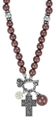 Cross ASK Toggle Necklace, Brown  -