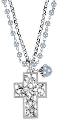 Double Chain ASK Cross Necklace, Gray  -