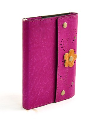 Leather Flower Journal, Purple  -