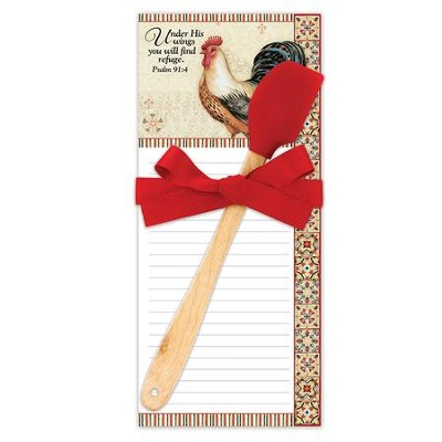 Bohemian Rooster, Under His Wings You Will Find Refuge, Kitchen Set, Notepad and Spatula  -