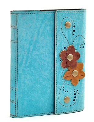 Leather Flower Journal, Turquoise   -