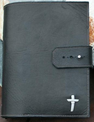 Leather Adjustable Bible Cover, Black, Large  -