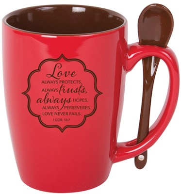 Love Always Protects Mug with Spoon  -