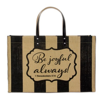 Be Joyful Fashion Tote Bag, Jute  -