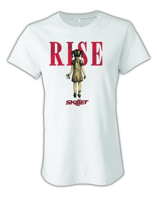 Skillet Rise T-Shirt (Girls Cut) White Large   -