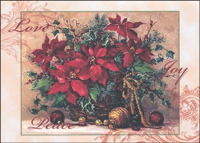 Poinsettia Basket Deluxe Box Christmas Cards, Box of 20  -