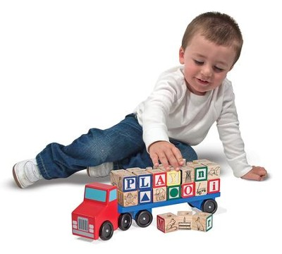 Alphabet Blocks Wooden Truck  -