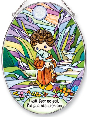 I Will Fear No Evil Oval Suncatcher, Precious Moments  -