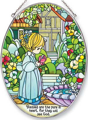 Blessed Are The Pure in Heart Oval Suncatcher, Precious Moments  -
