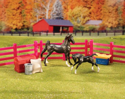 Stablemates, New Arrival, with Two Horses  -