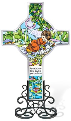 He Maketh Me Lie Down Cross Suncatcher, Precious Moments  -
