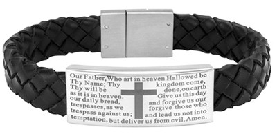 Men's Faith Bracelet, Black Leather  -