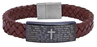 Men's Faith Bracelet, Brown Leather  -