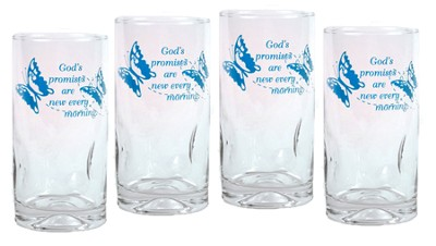 God's Promises are New Every Morning, Set of 4 Drinking Glasses  -