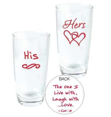 His and Hers, The One I Live With, Glasses, Set of 2  -