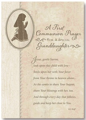 A First Communion Prayer Card, Granddaughter, Pack of 6  -