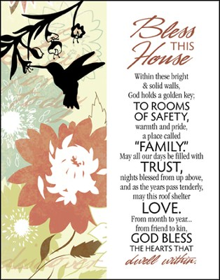 Bless This House Glass Plaque  -
